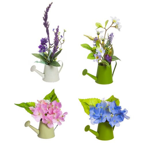 August Grove Mini 4-Piece Mixed Floral Arrangement in Garden Watering Can Set