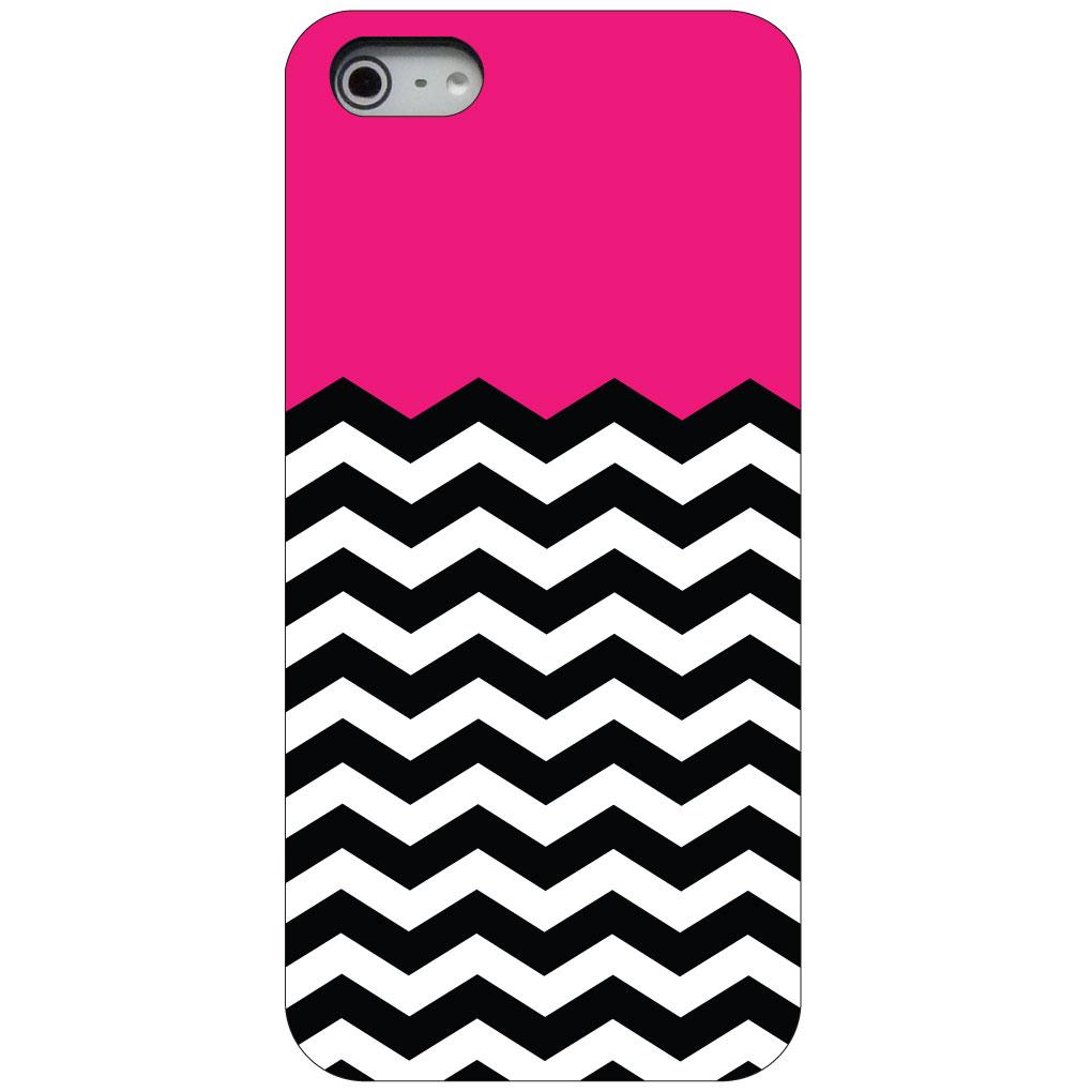 CUSTOM Black Hard Plastic Snap-On Case for Apple iPhone 5 / 5S / SE - Black White Hot Pink Chevron