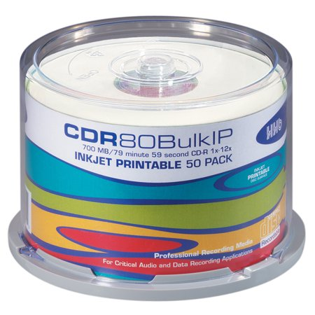 HHB 80 Minute Professional SILVER CD- White Inkjet Printable 1x-12x Specialized Write Speed *50 PACK ()