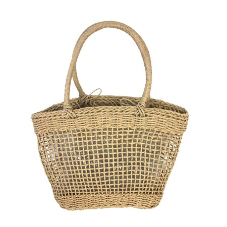 Blue Island Daize Open Weave Straw Market Tote Beach Bag, Natural