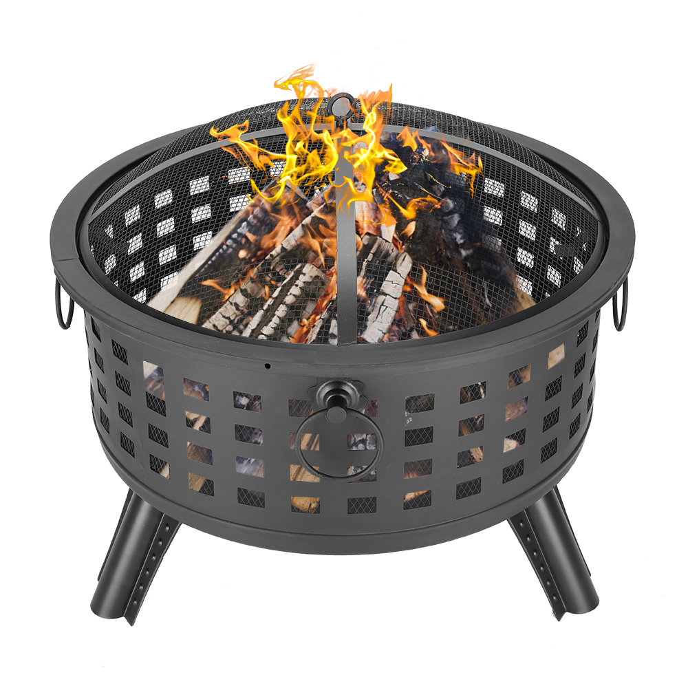 """Outdoor Heavy Steel 26"""" Fire Pit Wood Burning Fireplace ..."""