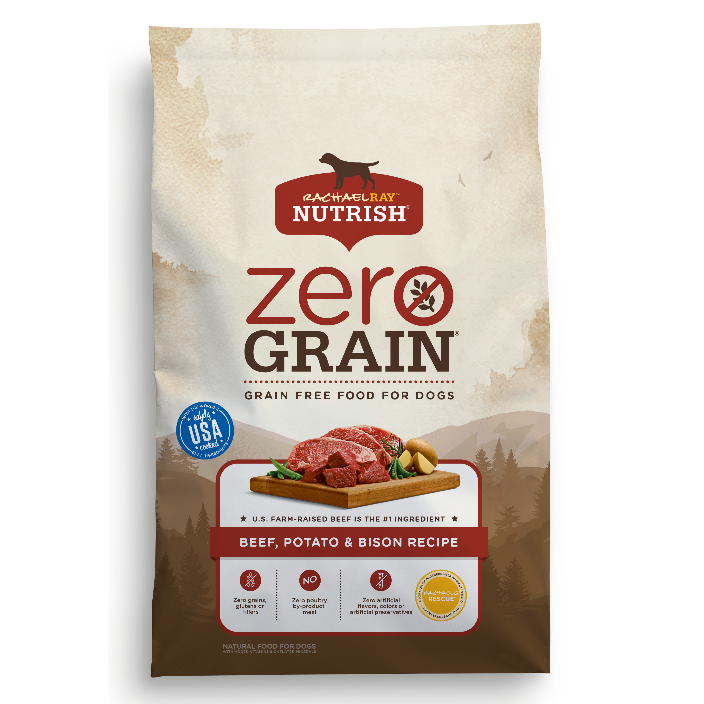 Rachael Ray Nutrish Zero Grain Natural Dry Dog Food, Beef, Potato & Bison Grain Free Recipe, 3.5 lbs