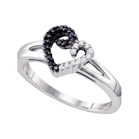 Sterling Silver Black Color Enhanced White Diamond Heart Love Ring 1/6 Cttw Size 6 - image 1 de 1