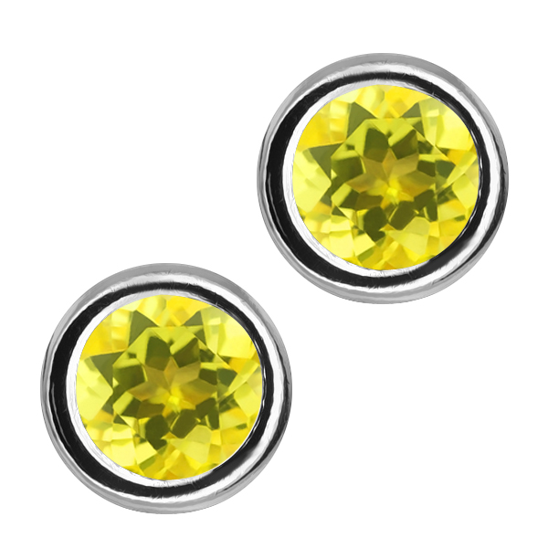 2.00 Ct Round Canary Mystic Topaz Sterling Silver bezel - Earrings 6mm