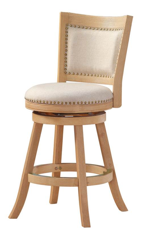24 in. Wire Brush Swivel Bar Stool in Cream Wash by Boraam