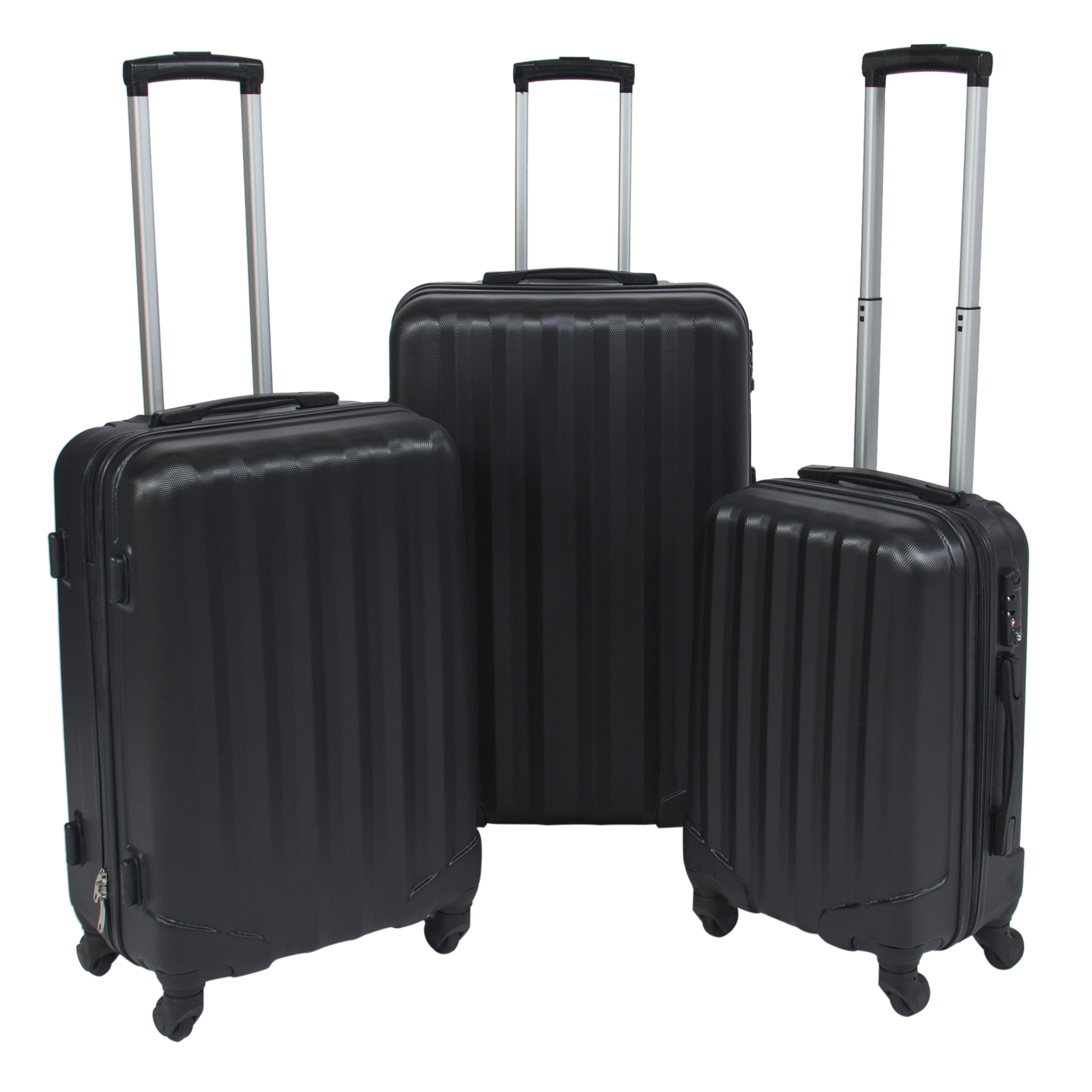 Best Choice Products 3 Piece Travel Luggage Set Bag ABS Hardshell ...