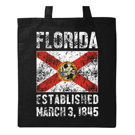 Flag Tote Bag (Established March 3, 1845 Florida Flag Tote Bag Black One)