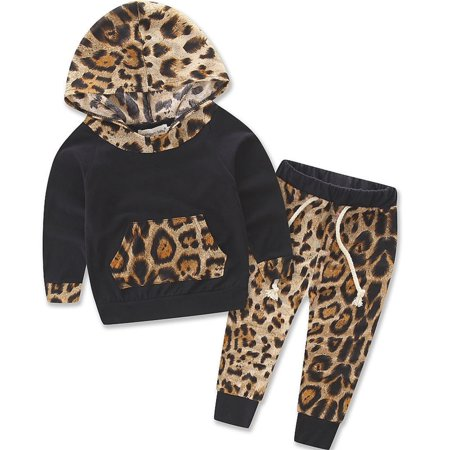 2PCS Kid Baby Boys Girls Leopard Pullover Hooded Coat + Pants Set Clothes - Leopard Halloween Outfit