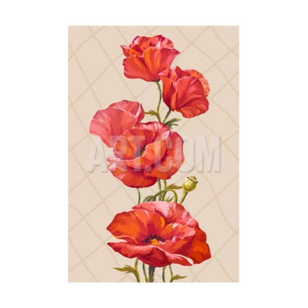 Oil Painting. Card with Poppies Flowers Print Wall Art By