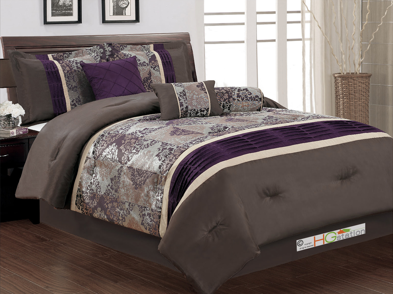 7 pc floral damask jacquard patchwork pleated comforter set coffee brown purple beige king walmart com
