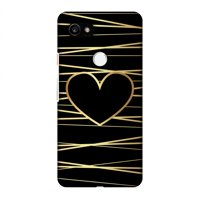 Google Pixel 2 XL Case, Premium Handcrafted Designer Hard Shell Snap On Case Printed Back Cover with Screen Cleaning Kit for Google Pixel 2 XL, Slim, Protective - Golden Heart Ribbon