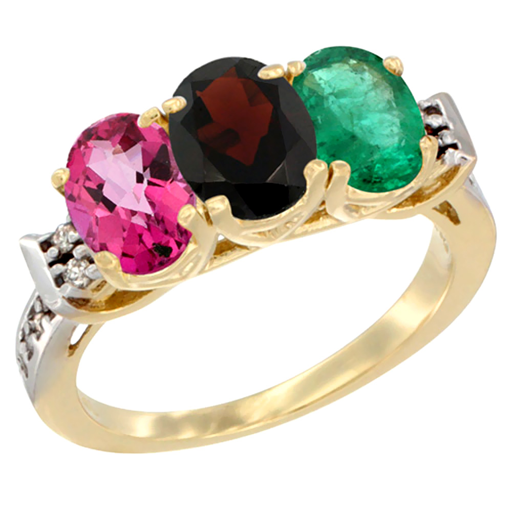 10K Yellow Gold Natural Pink Topaz, Garnet & Emerald Ring 3-Stone Oval 7x5 mm Diamond Accent, sizes 5 10 by WorldJewels