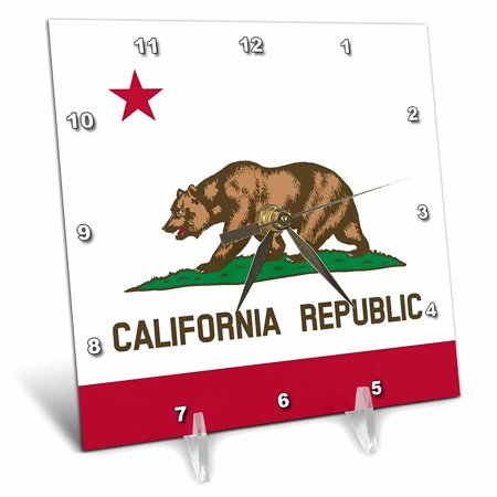 (3dRose Flag of California Republic - US American state - United States of America - The Bear Flag white red, Desk Clock, 6 by 6-inch)