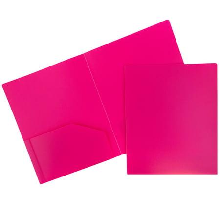 JAM Paper® Plastic Heavy Duty Two Pocket Presentation Folder, Fuchsia Pink, - Plastic Folders
