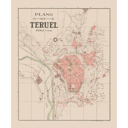 Teruel Spain Map.Old Spain Map Plano De Teruel Martin 1911 23 X 27 82 Walmart Com
