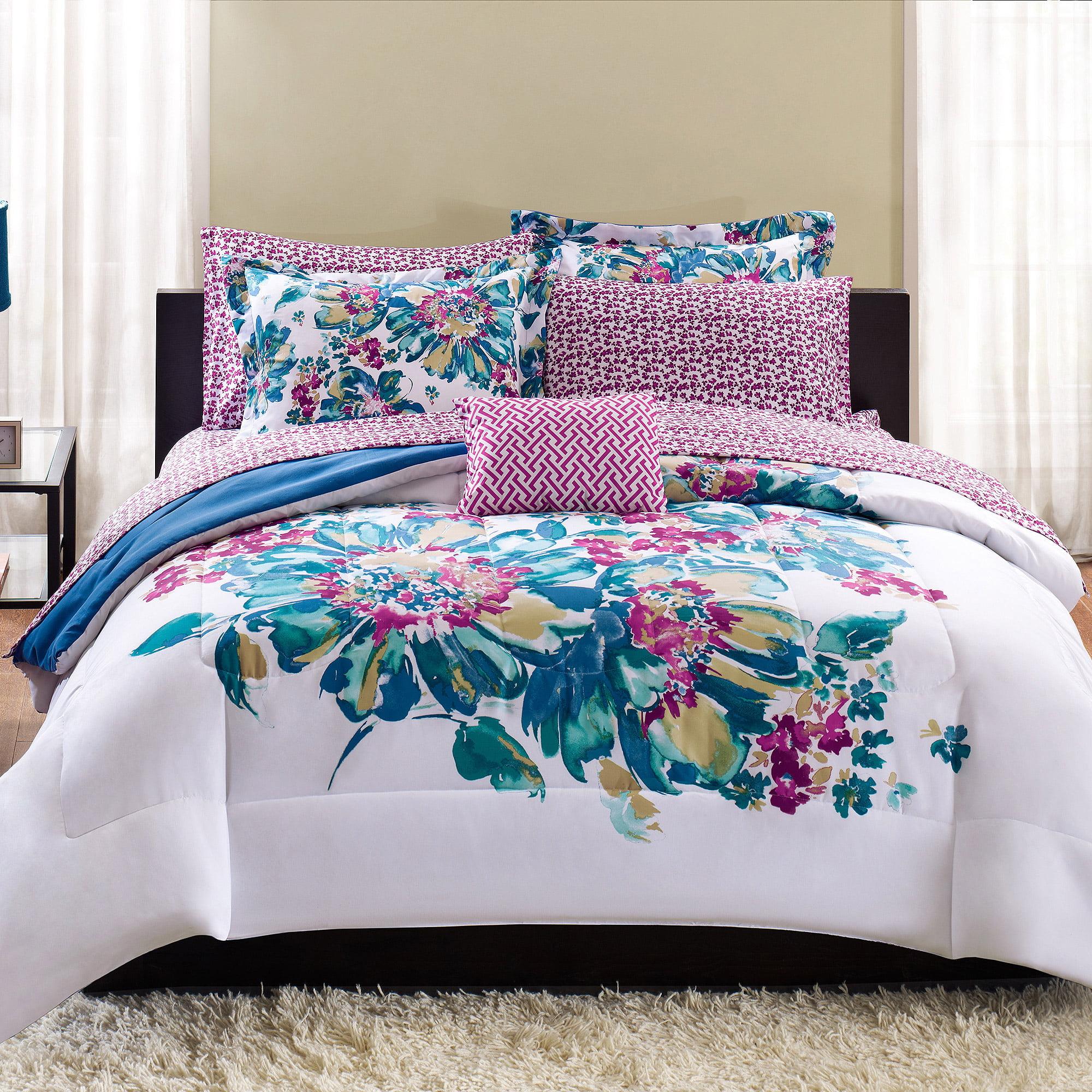Mainstays Floral Bed in a Bag Bedding Set Walmart
