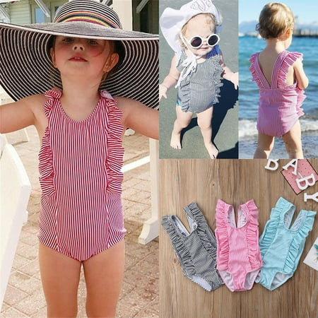 7cc30cfe60 Emmababy - Striped Infant Newborn Baby Girls One Piece Bikini Swimwear  Swimsuit Bathing Beachwear - Walmart.com