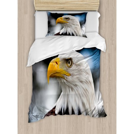 Eagle Twin Size Duvet Cover Set, Photo of the Head of Freedom Symbol in America with Blurred Background, Decorative 2 Piece Bedding Set with 1 Pillow Sham, Dark Brown Marigold Blue, by Ambesonne