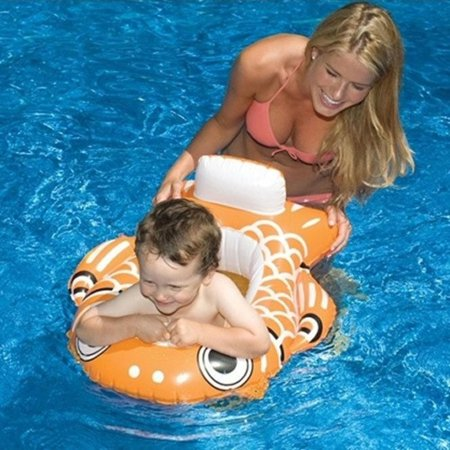 Water Sports Inflatable Orange Guppy Fish Swimming Pool Baby Seat, 29-Inch
