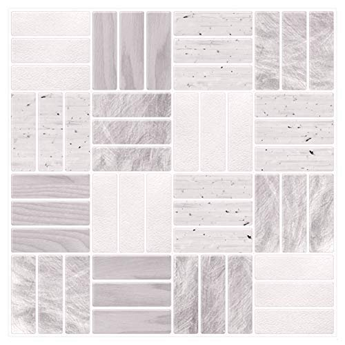 Tic Tac Tiles 6 Sheet Peel And Stick Self Adhesive Removable Stick On Kitchen Backsplash Bathroom 3d Wall Sticker Wallpaper Tiles In Weave Grigio Walmart Com Walmart Com