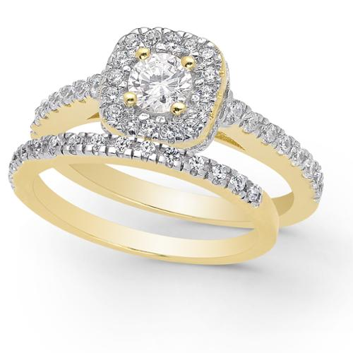 Dolce Giavonna Gold Over Sterling Silver Cubic Zirconia Bridal Ring Set Bridal Set, Size 8