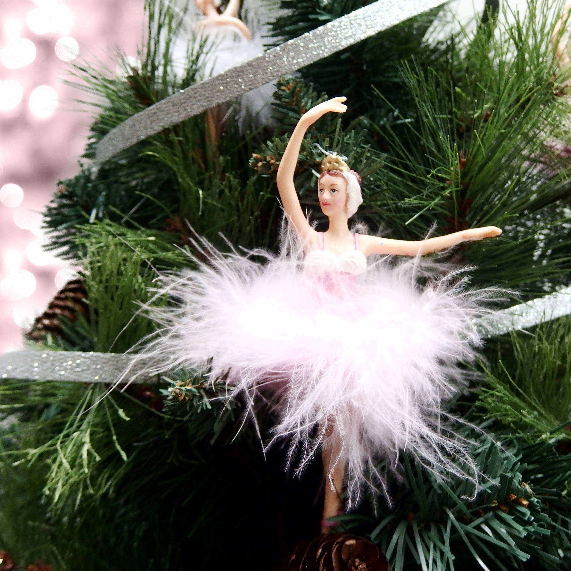 Holiday Time Christmas Ornaments 6-Piece Pink Feather Ballerina Ornament - Walmart.com