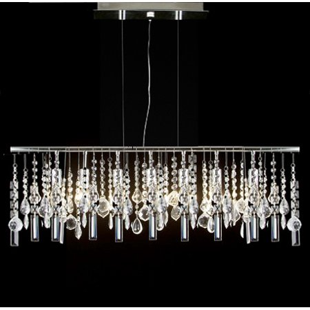 Modern Contemporary Linear Chandelier Lamp With Crystal H58