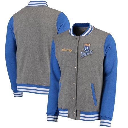 Team Varsity Jacket (Kansas City Royals Timeless Throwback Varsity Jacket - Heathered Gray/Royal )