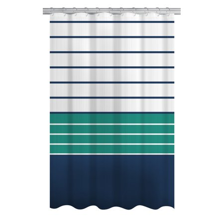 Mainstays Nautical Ombre Stripe Fabric Shower Curtain, 72