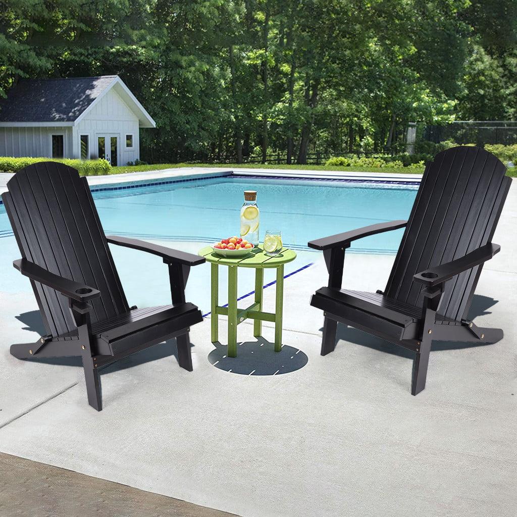 Solid Wood Folding And Reclining Adirondack Chairs Outdoor Beach Adult Black Walmart Com Walmart Com