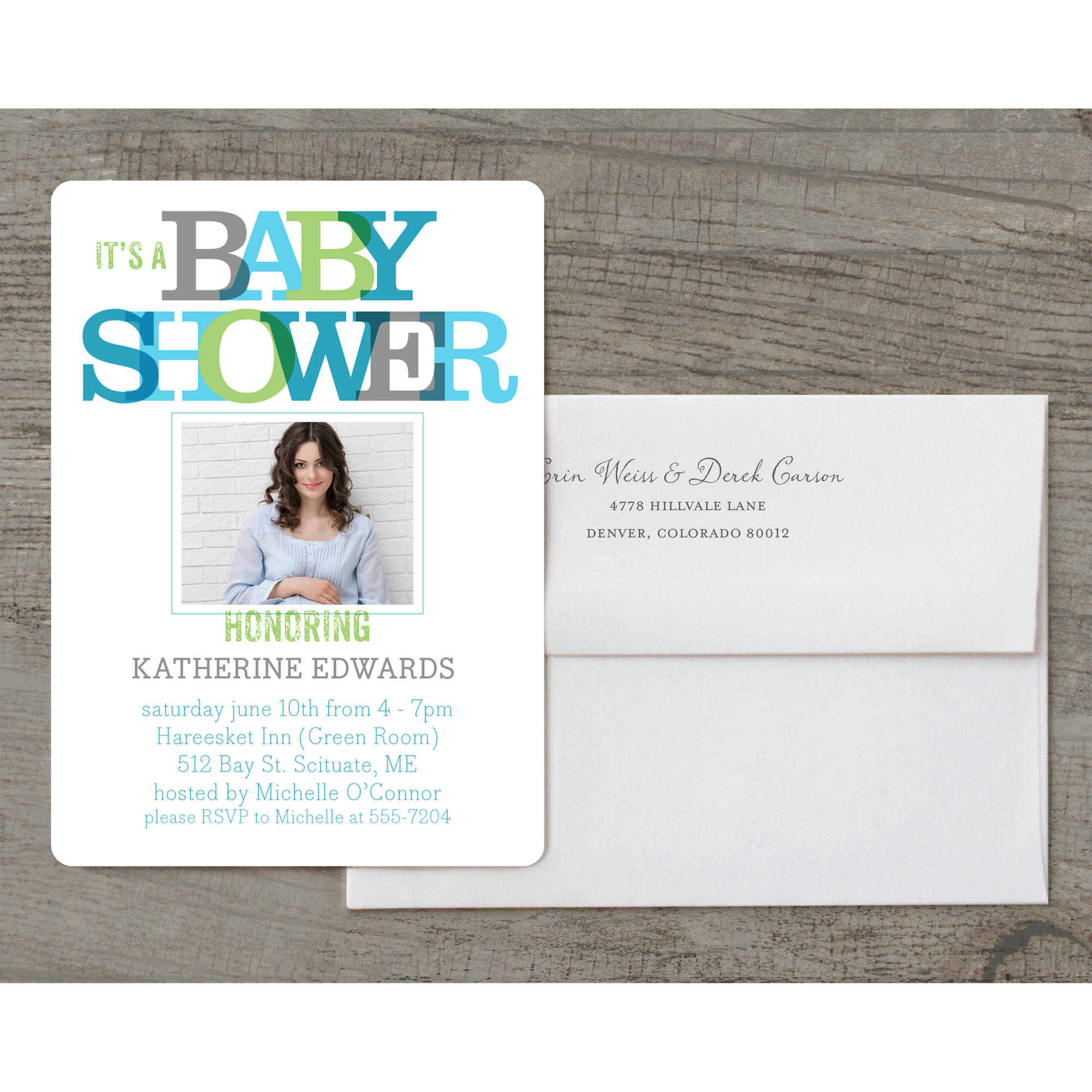 Primary Overlap Deluxe Baby Invitation