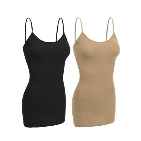 Essential Basic Women Basic Built In Bra Spaghetti Strap Layering Cami Top Tank - Junior