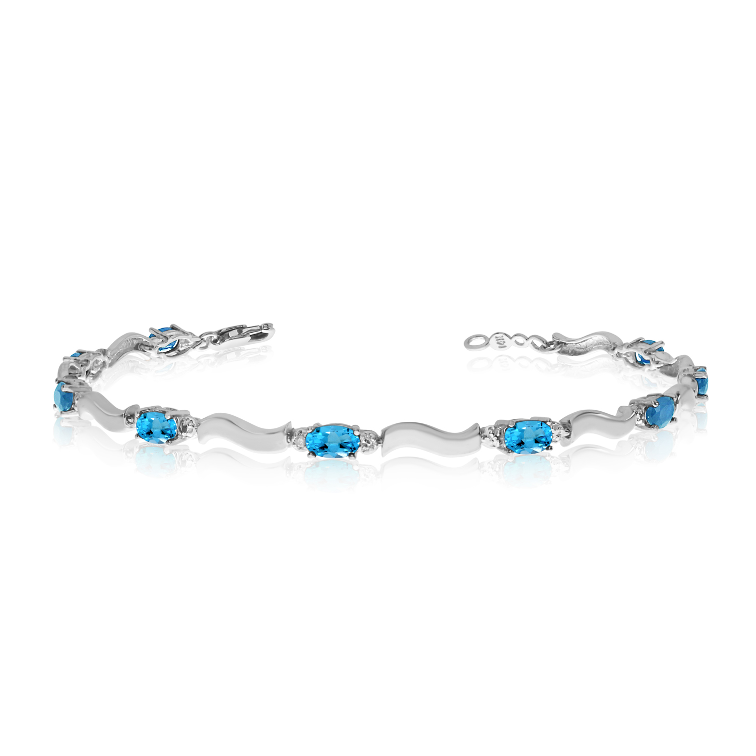 14K White Gold Oval Blue Topaz and Diamond Bracelet by