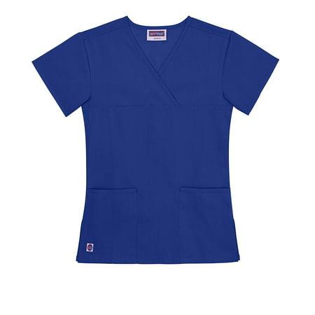 Women's 2-Pocket Y-Neck Partial Mock Wrap Scrub Top