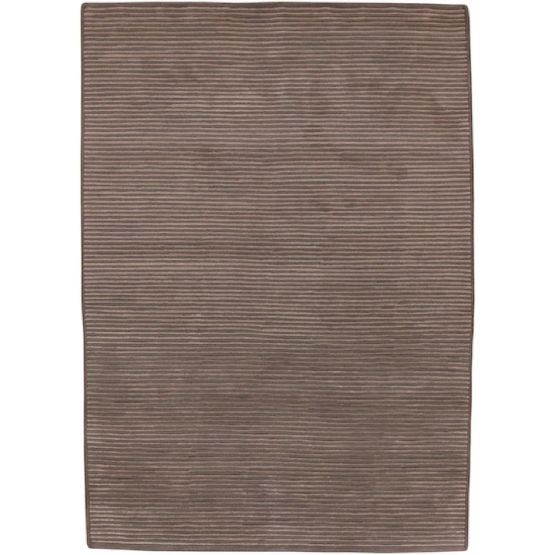 8' x 11' Solitary Espresso Brown Rectangular Wool Area Throw Rug
