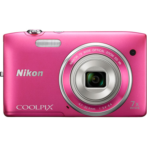 Nikon Pink COOLPIX S3500 Digital Camera with 20.1 Megapixels and 7x Optical Zoom