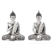 Poly Stone Spiritual Sitting Buddha Assorted Set of Two