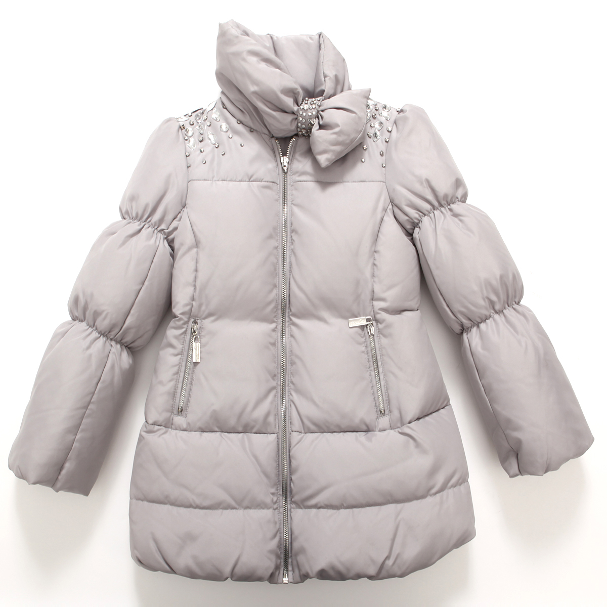 Richie House Girls' Glamorous Bejeweled Padded Coat RH0729