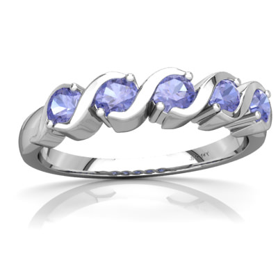 Tanzanite Anniversary Band Ring in 14K White Gold by
