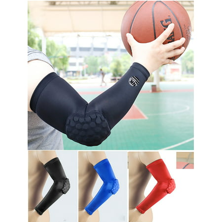 NK SUPPORT 1 Pair Honeycomb Crashproof Elbow Sleeve Pad - Protective Compression Arm Guard Sleeve Support for Basketball Football Volleyball Baseball Softball Outdoor Sports Blue Size