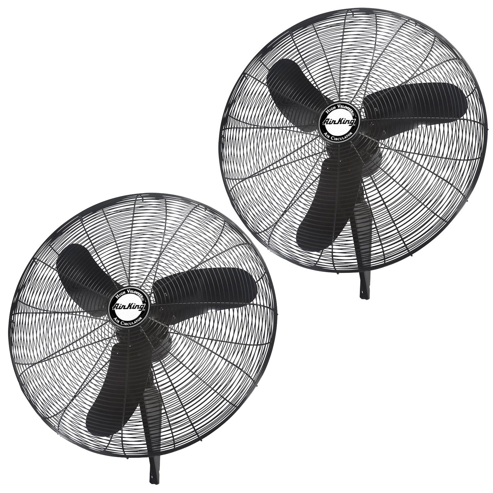 "Air King Industrial Grade 3 Speed 30"" 1/3 HP Oscillating Wall Mount Fan (2 Pack)"