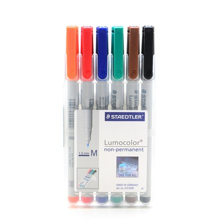 Lumocolor Non-Permanent Overhead Projection Markers assorted colors, medium 1.0 mm, set of 6 (pack of 2)