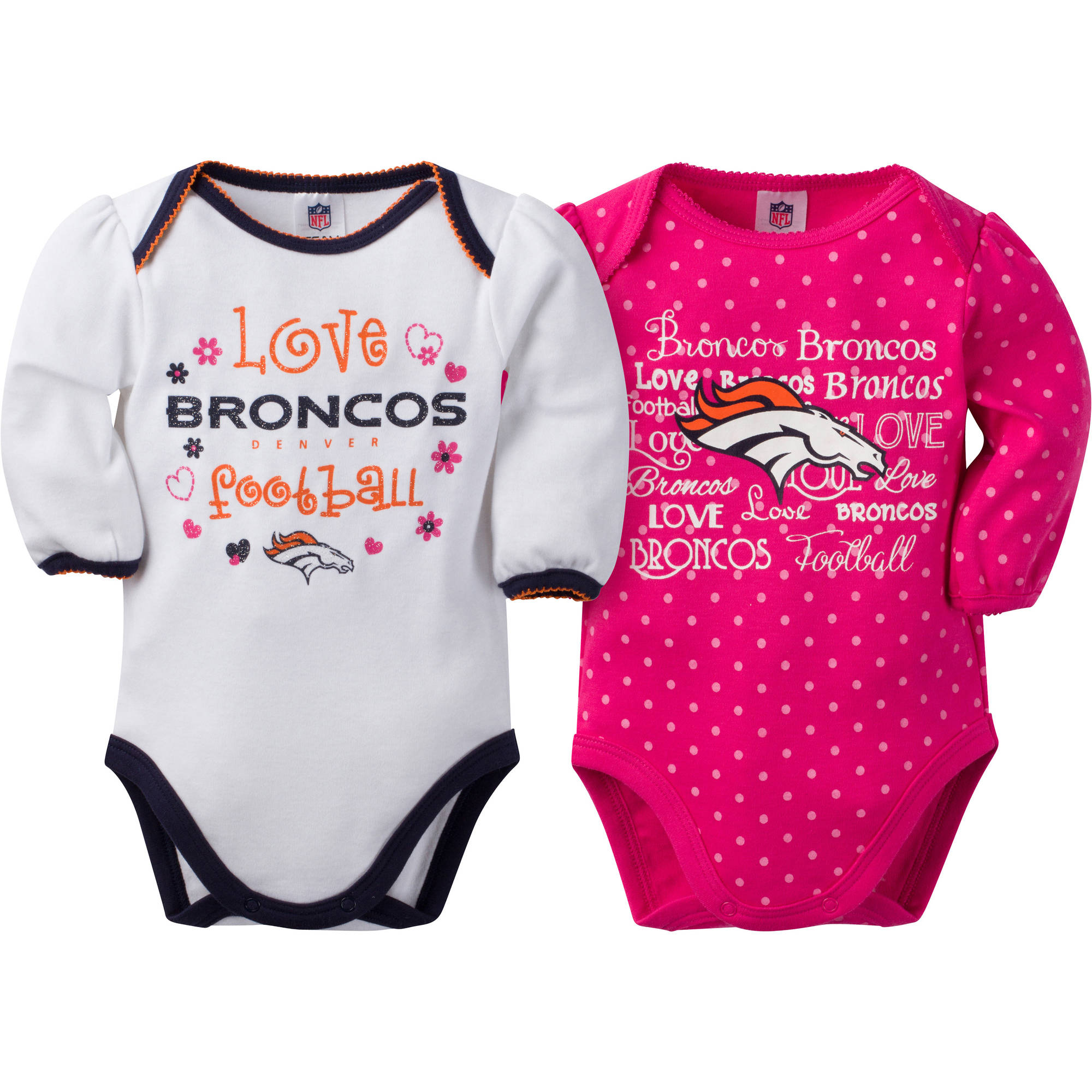 NFL Denver Broncos Baby Girls Long Sleeve Bodysuit Set, 2-Pack