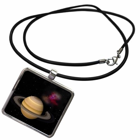 3dRose Saturn with its rings and space dust in a view as we approach with the sun at our back. - Necklace with Pendant (ncl_79410_1) - Pixie Dust Necklace