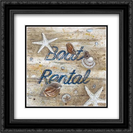 Black Light Rental (Boat Rental 2x Matted 20x20 Black Ornate Framed Art Print by Fisk,)