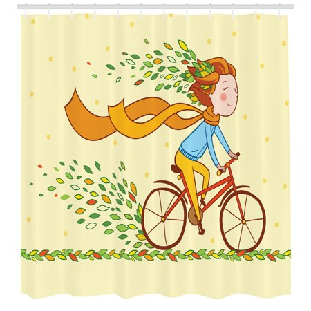 Bicycle Shower Curtain, Girl Riding Bicycle in the Countryside Autumn Nature Colorful Leaves Flying in Wind, Fabric Bathroom Set with Hooks, 69W X 84L Inches Extra Long, Multicolor, by - Girl In The Shower