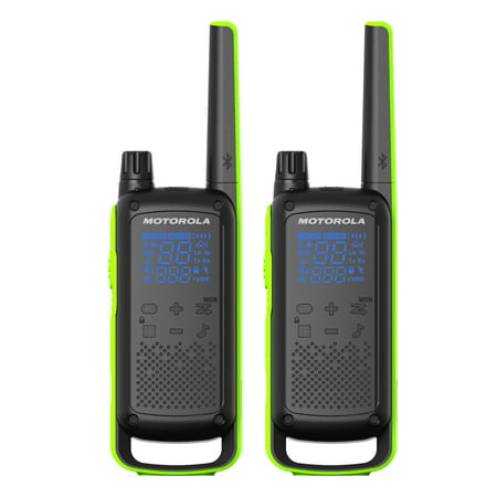 Motorola Talkabout T801 Two-Way Radios, 2 Pack, Black/Green