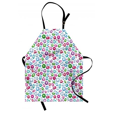 Diamond Apron Heart and Geometric Shaped Colorful Little Diamonds Precious Gemstones Crystals Pattern, Unisex Kitchen Bib Apron with Adjustable Neck for Cooking Baking Gardening, Multi, by Ambesonne ()