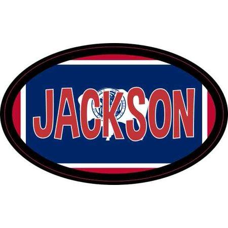 4in x 2.5in Oval Wyoming Flag Jackson Sticker (Halloween Jackson Wyoming)