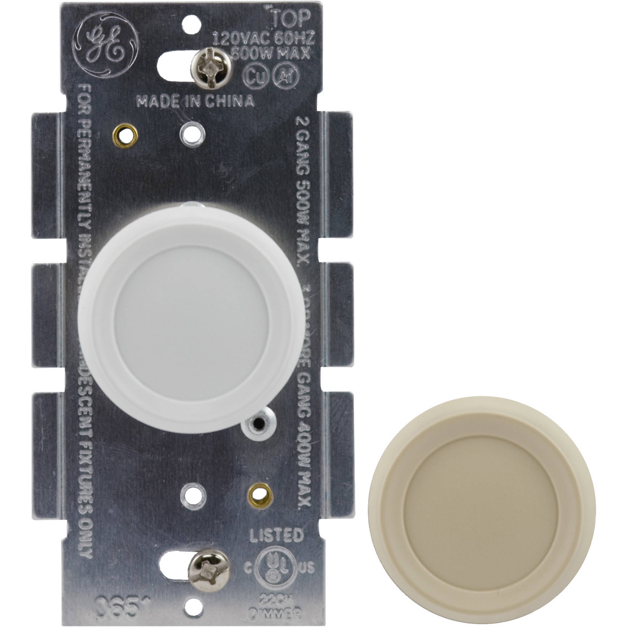 GE 2pk Push On/Off Dimmer, White/Ivory